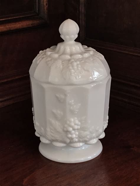 Westmoreland Milk Glass Candy Dish, Grape Motif