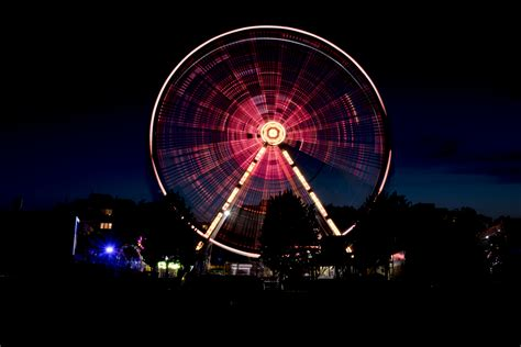 wallpaper ferris wheel amusement park night dark hd