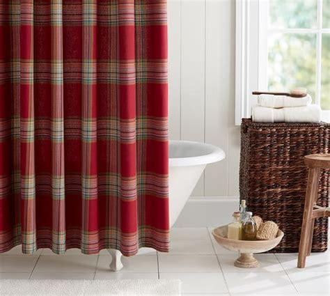 plaid shower curtain blake plaid shower curtain pottery barn