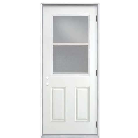 Pre Hung Exterior Doors Shop Reliabilt Clear Prehung Outswing Fiberglass Entry Door Common 32 In X 80 In Actual 33 5