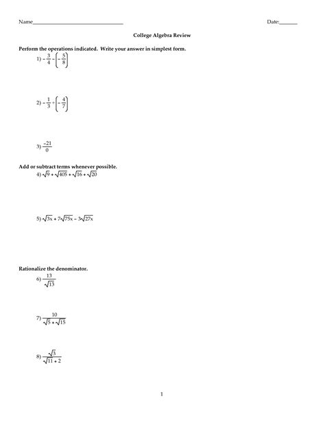 Math Worksheets For College by 19 Best Images Of College Math Review Worksheets 7th