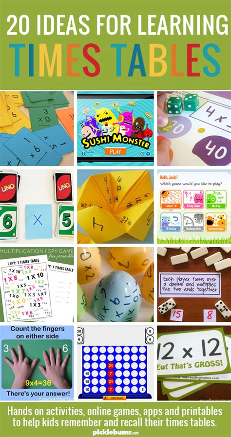 ways to learn your multiplication tables helping learn their times tables picklebums