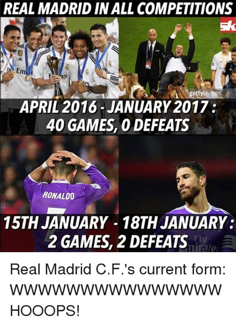 Real Madrid Meme - real madrid inall competitions em gettyim april 2016