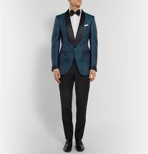 black jacquard pattern slim suit jacket tom ford blue slim fit silk and cotton blend jacquard