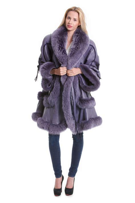 swing mantel leder mantel jacke mit fuchs in lila echt pelz
