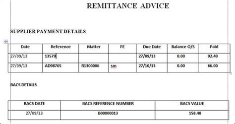 remittance advice template