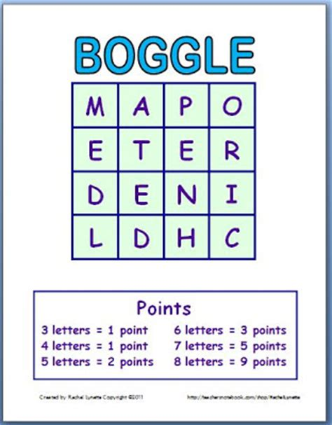 classroom freebies boggle template make a new game each