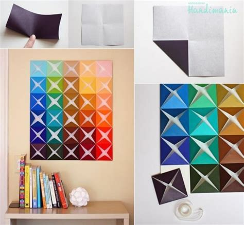 Step By Step Paper Crafts - how to make origami paper craft wall decoration step by