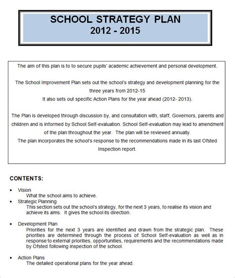 strategic plan template for schools 4 sle school strategic plan templates doc pdf