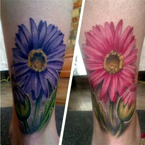 eclectic tattoo purple and pink gerber tattoos by mike riina at