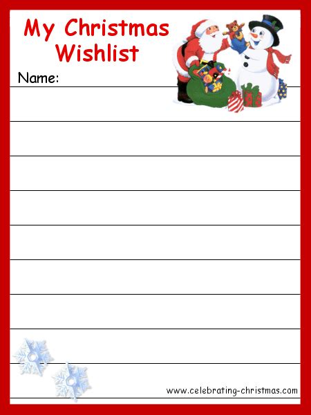 christmas list template printable