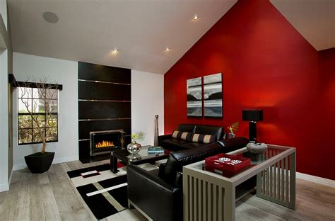 red accent wall living room red black and white interiors living rooms kitchens