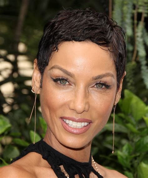 black hairstyles for wet and wavy hair nicole murphy short wavy casual pixie hairstyle medium