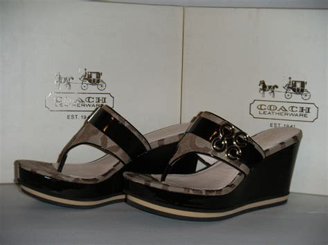 coach op platform wedge sandals new in box ebay