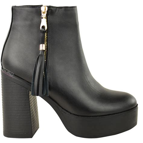 womens high heel boots new womens chunky chelsea ankle boots high block