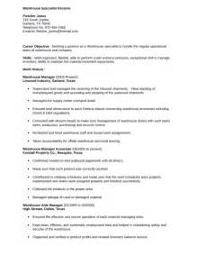 Warehouse Specialist Sle Resume by Simple Warehouse Specialist Resume Template