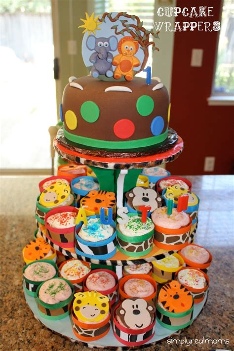Baby Shower Baseball Theme Decorations Jungle Themed Party Diy Cupcake Wrappers Amp Cupcake Stand