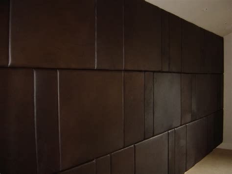 bedroom designs brown leather padded wall panels modern