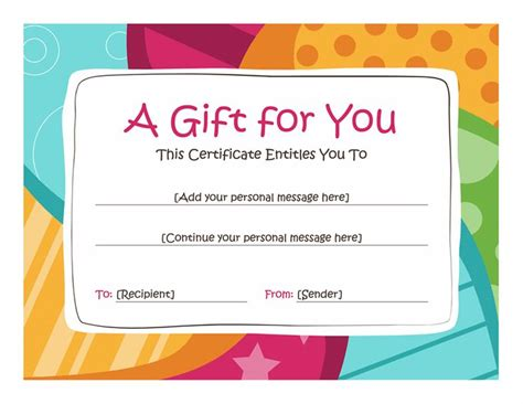 printable happy birthday gift certificates birthday gift certificate template free printables