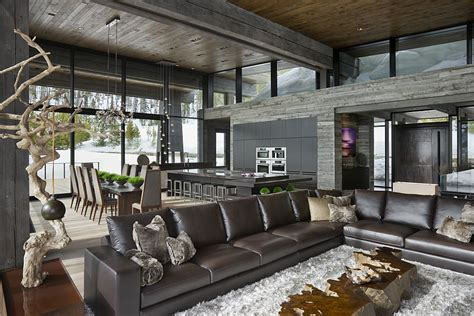 rich home interiors luxury ski resort in montana by len cotsovolos