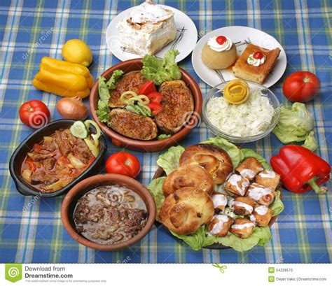 table of tasty traditional meals stock photo image