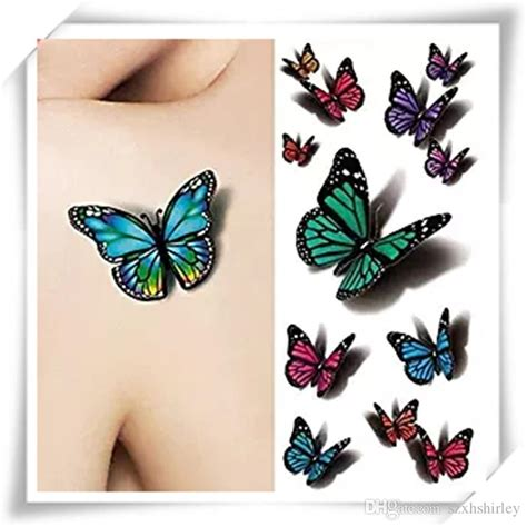 tattoo paper review 3d sexy multicolor butterfly tattoo decals body art decal