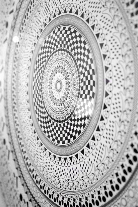 Black and White Mandala on Pantone Canvas Gallery