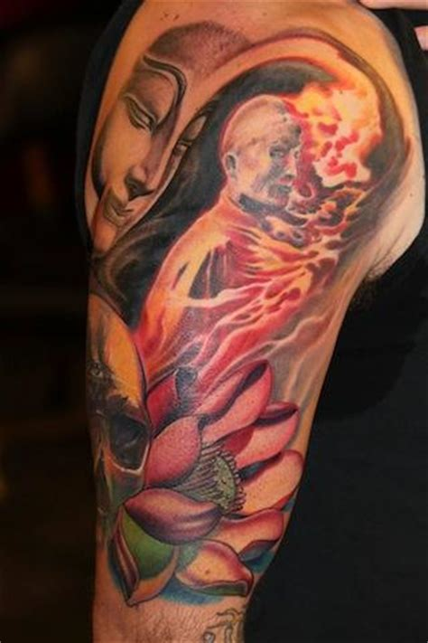 burning monk tattoo burning monk by tony adamson tattoos