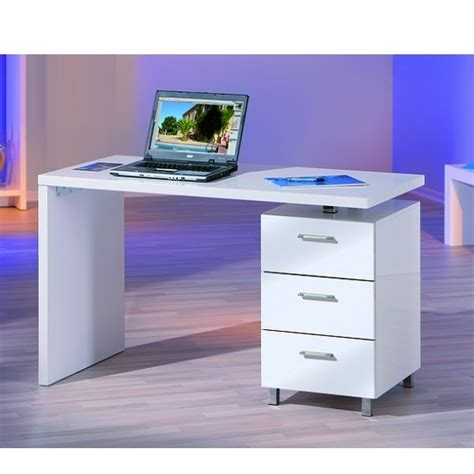 computer desk in high gloss white with 3 drawers 19168