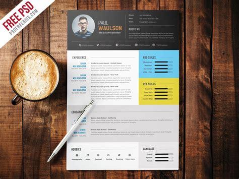 modern resume template psd freebie modern cv resume free psd by psd