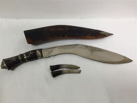 indian kukri vintage kukri knife with leather sheath and pair of small