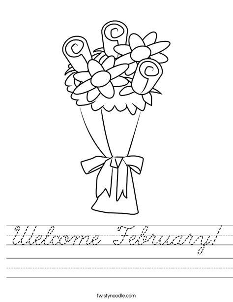 Welcome February Worksheet   Cursive   Twisty Noodle
