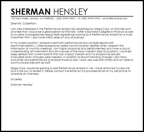 sample research analyst cover letter research analyst cover
