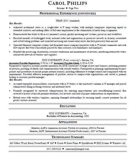 accounts payable resume template accounts payable specialist resume sle gallery