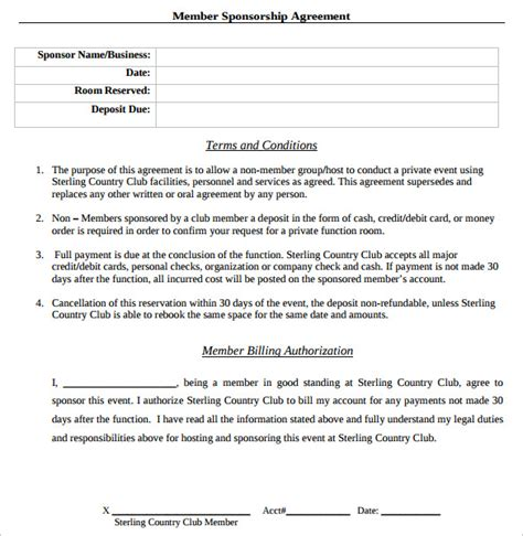 sponsorship contract template sle sponsorship contract template 14 free documents