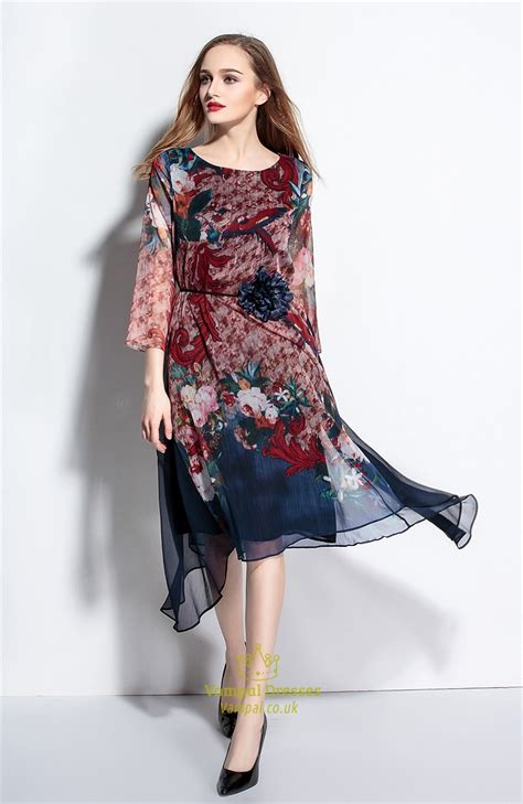 Summer Chiffon Dress casual summer chiffon floral print dresses with flower