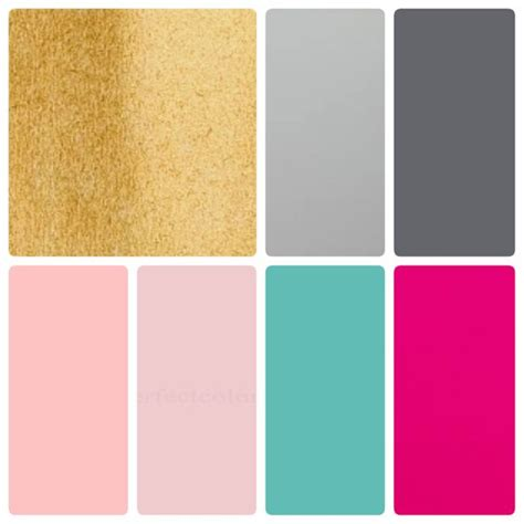 gold and gray color scheme colour palette blush pink hot pink teal gold light