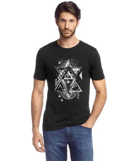 Black Half Printed t4artiz isodceles printed black half sleeve cotton s t