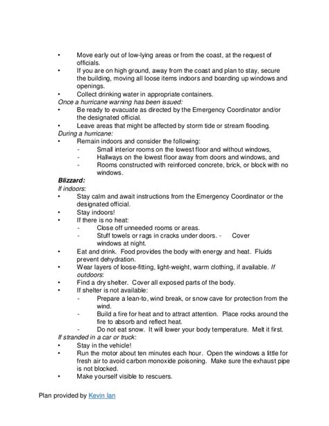Emergency Action Plan Template Tornado Safety Plan Template