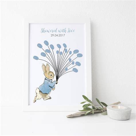 Baby Shower Fingerprint by Baby Shower Gift Rabbit With Balloons Fingerprint Print By
