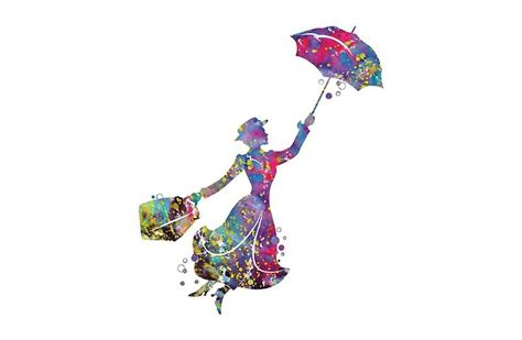 mary poppins silhouette watercolor dress yourself
