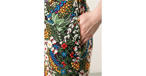 Black Flower Embroidery Depw030 valentino embroidered floral skirt in black lyst