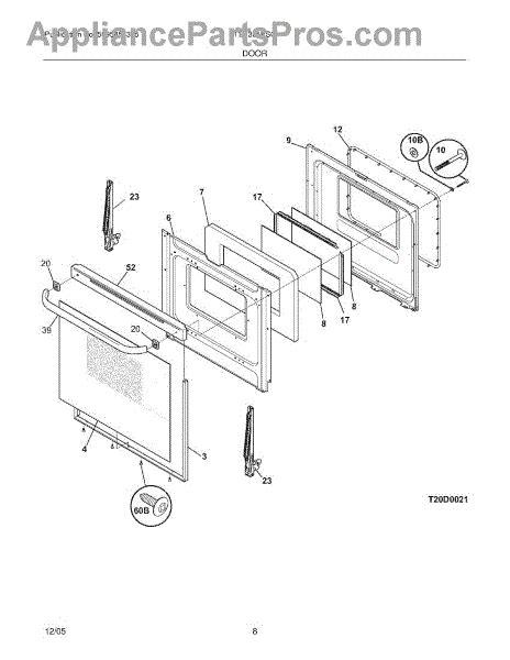 frigidaire oven parts diagram frigidaire 316575500 oven door cap appliancepartspros