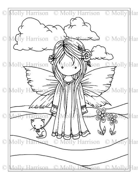 Fairy Cat Coloring Page | fairy with kitty cat printable coloring page whimsical