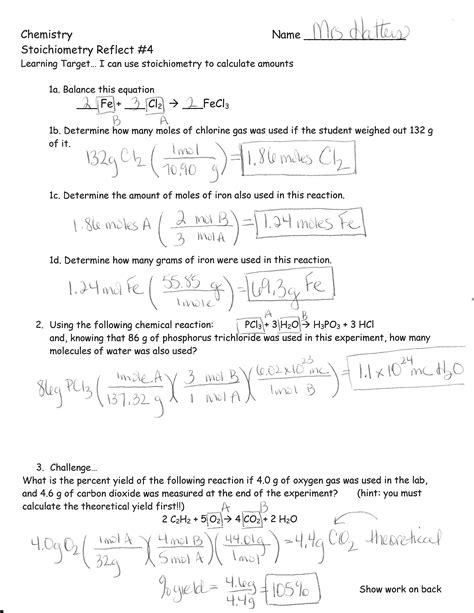 announcements stoichiometry test review answer