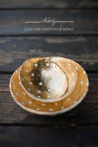 How To Make Paper Mache Bowls - featured diy gold leaf paper mache bowls the