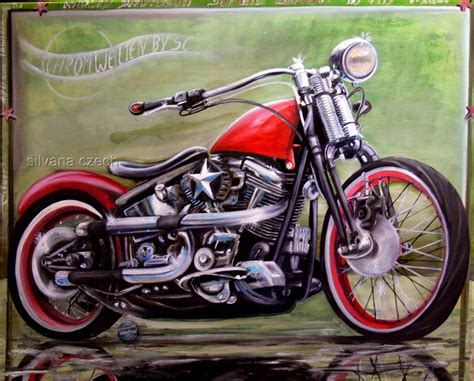 Motorrad Bilder Gemalt by Softail Springer Harley Davidson Paining 100 80 V