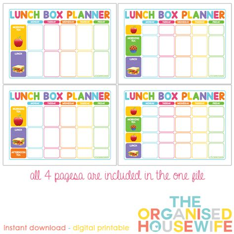 free printable lunch box planner planning food for lunch boxes is just as important as