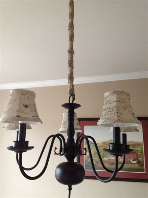 Hobby Lobby Chandelier Turn An Brass Chandelier Into Quot Rustic Chic Quot Using Spray Paint Hemp Twine And L Shades