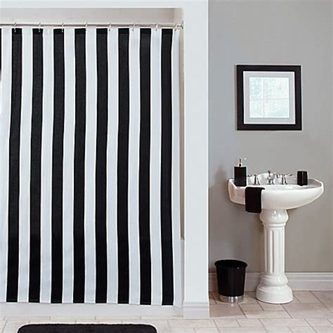 black and white vertical striped shower curtain gramercy stripe shower curtain bed bath beyond